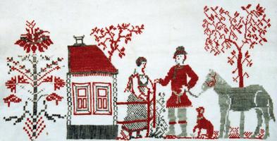 Рис. 41. Сюжетная вышивка с мотивами дерева