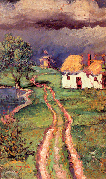 Давид Бурлюк. Сельский пейзаж. 1919